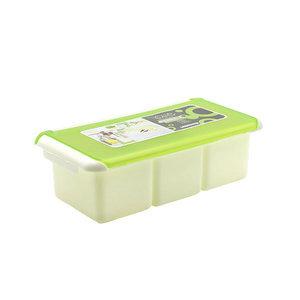 塑料三格带小勺子调味盒