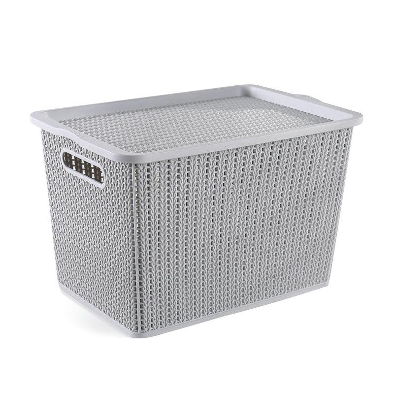 经济实惠款塑料提手加盖4件套藤编储物箱
