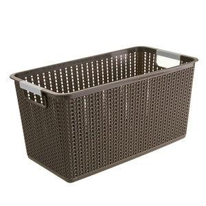 经济实惠款咖啡色塑料带提手藤编储物篮