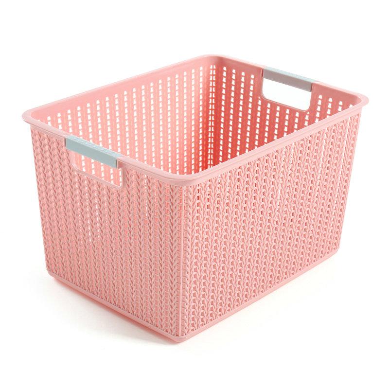 经济实惠款粉色塑料带提手藤编储物篮