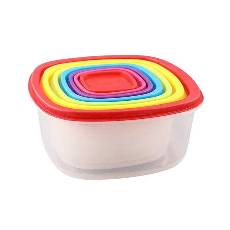 环保7件套彩虹透明塑料食品保鲜盒