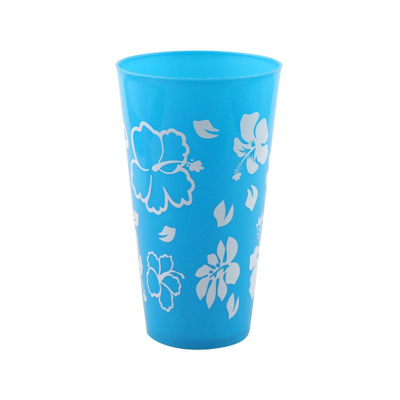 促销塑料水杯600ml大杯OEM印刷可重复使用果汁杯